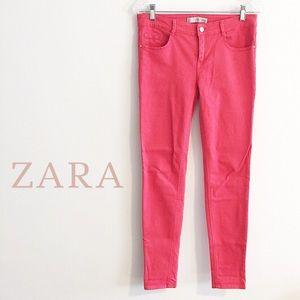 NEW Zara Coral Red Stretch Skinny Jeans Size 4